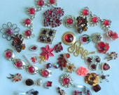 Destash RED RHINESTONE Craft Lot Altered Assemblage for Repurposing Jewelry Making