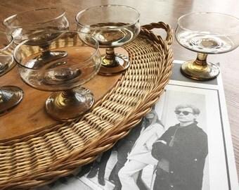 Vintage smoke glass mod dessert dishes, smoke glass pedestal dishes