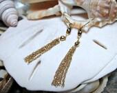 14k Tassel Earrings Yellow Gold 1.01 grams Movable Dangle Earrings