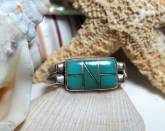 Sterling Silver Turquoise and Blue Opal Flip Ring Reversible Ring