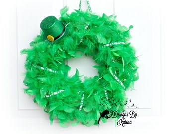Feather St. Patrick's Day Wreath, St. Patrick's Day Wreath, St. Patrick's Day Hat Wreath