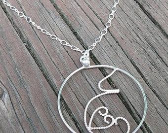 10 dollars off: Fluttering Love...a sterling silver handmade filigree pregnancy pendant