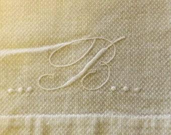 Vintage White Monogrammed (letter B) Hand Towel