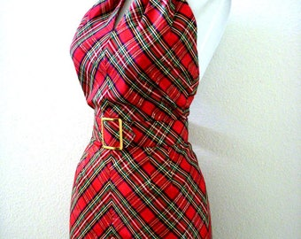 Stunning Red Plaid Taffeta Halter Dress - Vintage 60s 70s Red Green and Gold Plaid Taffeta Maxi Dress - Red Prom Dress - Size Small 4 - 6