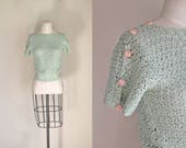 vintage 1940s sweater - JADE mint green crochet top / XS-S