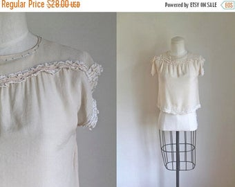 40% OFF anniversary sale vintage 1920s silk top  - PEACH CREAM silk blouse / Xs