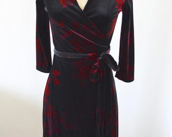 Vintage Glam Asian Floral Merlot Velvet Wrap Dress Street Style Office Secretary Resort Free Shipping us