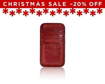 Christmas Sale -20% Off - - iPhone 6, iPhone 7 RETROMODERN aged leather pocket - - RED