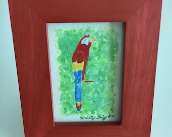 """ORIGINAL Watercolor Painting - Scarlet Macaw Parrot with Frame - 4"""" x 5"""""""