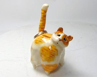 Orange and White Cat Ring Holder - Cat Ring Holder - Ginger Colored Cat - Pottery Animal - Clay Cat - Ceramic Cat - Ceramic Animal