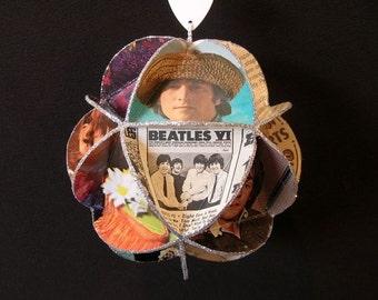Beatles Album Cover Ornament Made Of Record Jackets Lennon McCartney Starr Harrison