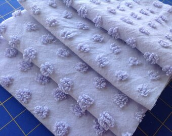 Lavender Popcorn Chenille PreCut Pieces from Vintage Bedspread - 16 x 12 inch squares - Total of 4 Pieces, Rotary Cut, Clean Ready To Use
