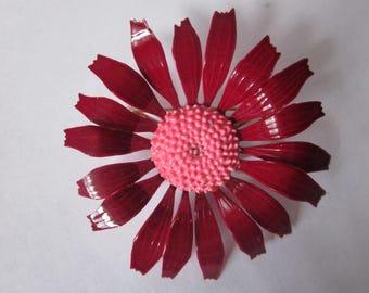 Vintage Enamel Flower Brooch - Deep Red Leaves and Pink Stigma