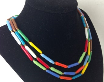 Vintage Three Strand Long Glass Tube Beaded Necklace Primary Colors Fabulous