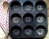 RARE EnglishVintage English Baking Tin Embossed Ovenex Muffin Tin Ornate Vintage Cupcake Tin Starburst Pattern Baking Mold