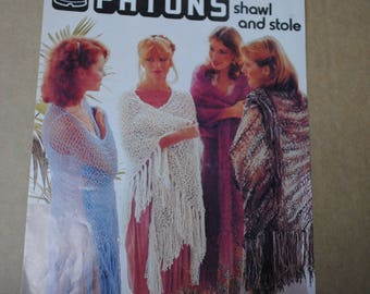 Vintage 1978 Patons KNITTED SHAWL and Stole Knitting Pattern Booklet Style No 150 - Free Postage Australia Wide