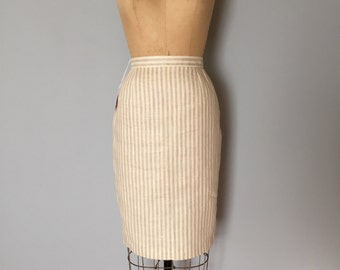 nude linen striped skirt | seersucker pencil skirt