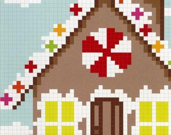 "SALE: Primitive Folk Art Quilt Pattern - ""The Gingerbread House"" -  By Carolina Patchworks"