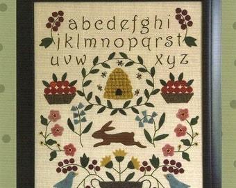Primitive Folk Art Wool Applique/Embroidery Pattern - SPRING SAMPLER - Fits in Standard Size Frame