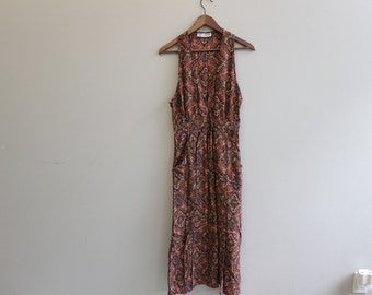 Vintage Brown Sleeveless Summer Dress RJ Stevens