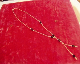 Vintage Sterling Silver Black Faceted Glass Bead Center Drop Y Necklace 8850