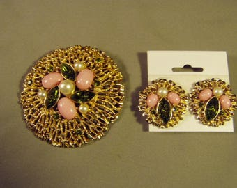 Vintage Sarah Coventry Lg Round Coral Reef Pin & Clip Earrings Set  9179