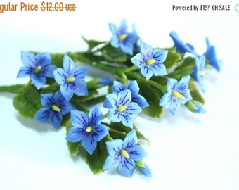 12 Bunches Miniature Polymer Clay Flowers Supplies for Dollhouse Violet with leaves