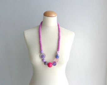 Pink purple long necklace, flower necklace, long flower necklace, romantic necklace