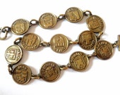 German City Arms Bracelet... Darkened Goldtone Metal... c.1950s Souvenir