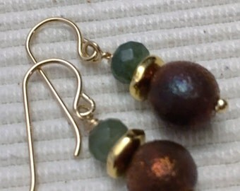 GREEN ADVENTURINE, Earrings, RAKU Bead, Gold Fill earwires, Gold spacers, Dangle, One of a kind.