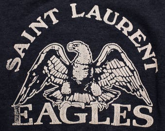 Saint Laurent Eagles Raglan Sweatshirt, Vintage 70s-80s, Thin/Lightweight, Long Sleeve Shirt, Distressed