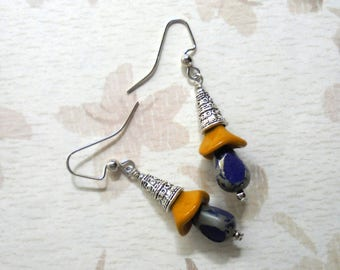 Blue, Mustard Yellow and Silver Flower Bud Earrings (3426)