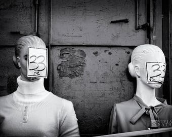 Black and white street photography, Jerusalem street photography, urban photography, monochrome photography, art print, mannequins