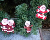 """Santa and Mrs Claus lot of 8 vintage felted flocked ornaments each 3-4"""" for decorating your Christmas tree, a wreath, as gift tags"""