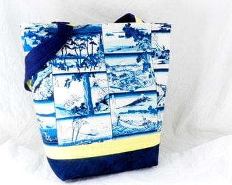 Blue and White Handbag, Japanese Fabric, Coastal Scenes, Small Tote, Summer Purse, Yellow and Blue