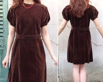 1930s brown velvet structured sleeves dress / antique dress size XS