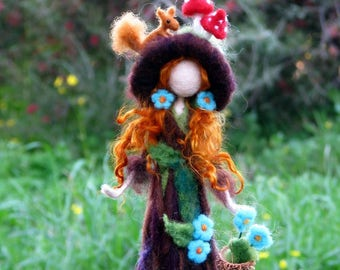 Needle felted tree guardian, waldorf inspired, art doll, Forest fairy, with red squirrel, Waldorf fairy, Home decoration,Fantasy doll