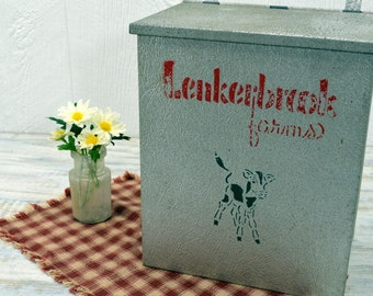 Old Dairy Box - farmhouse decor - Lenkerbrook Farms -aluminum milk box
