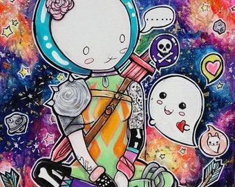 Fallen Stars- Satin paper Print 11x14Lowbrow Cute Art Space Bunny Ghost