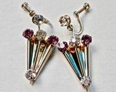 Retro Umbrella Earrings Amethyst Rhinestones Sterling Silver Screwback Earrings 1950s Vintage Jewelry Gold Vermeil Overlay