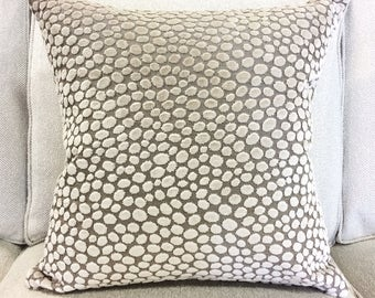 """Designer Gray and Taupe Cut Velvet Pillow Cover- Animal Print Pillow Cover- 20"""" Finshed Cover"""