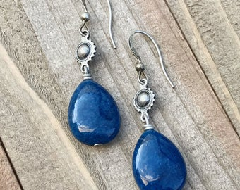 Blue Quartz earrings, boho earrings, drop earrings, dangle earrings, blue jewelry