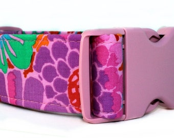Pink and Purple Dog Collar - 1.5 Inch Width - Extra Wide Dog Collar - Maui Garden Dog Collar