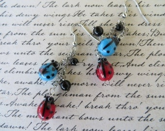 Danging Glass Ladybug Beaded Earrings