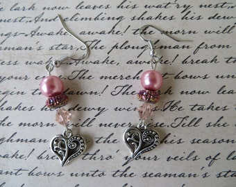 Dangling Silver Heart Earrings With Pink Glass Pearls And Crystals