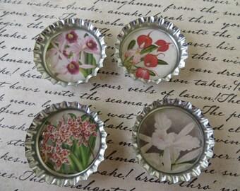 Vintage Orchids Bottle Caps Magnets Or Pin Sets