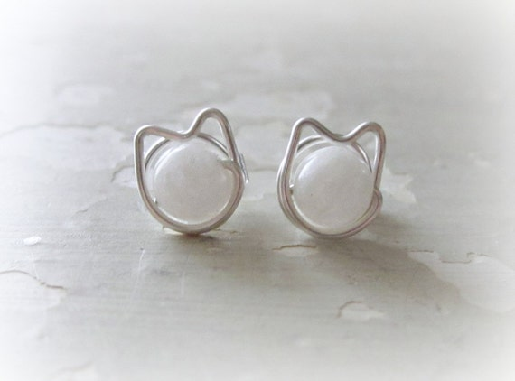 Cat Stud Earrings, Sterling Post Earrings, Crazy Cat Lady, Pet Lover Gift, White Cat Studs, Cat Lover Gift, Cat Jewelry, Hypoallergenic