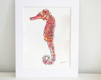 Coral Seahorse Watercolor Print