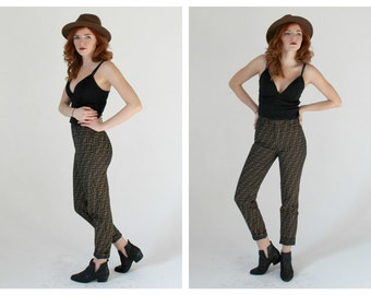 FENDI Brown & Black High Waist Pants-