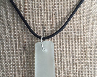Long White Sea Glass Pendant with Your Choice of Leather Cord or Ball Chain Necklace